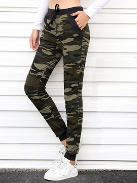 Camouflage Slim Lace-Up Mid-Waist Pencil Pants Women's Casual Pants