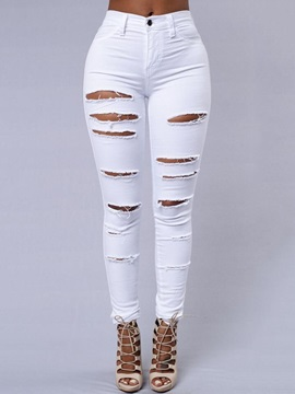Plain Hole Pencil Pants Slim Button Women's Jeans