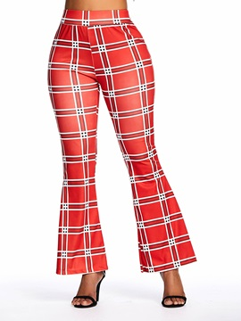 Print Slim Plaid Full Length Bellbottoms Women's Casual Pants