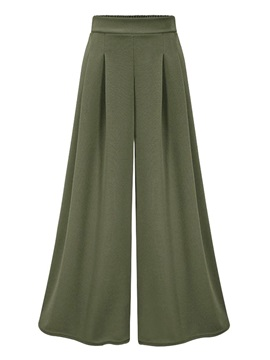 Loose Pleated Plain Wide Legs Ankle Length Women's Casual Pants