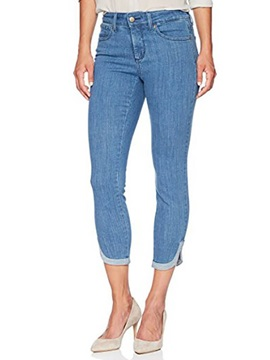 Pencil Pants Split Plain Slim Cropped Women's Jeans