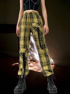 Plaid Button Slim High Waist Ankle Length Women's Casual Pants
