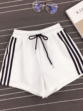 Color Block Lace-Up Loose Sport Elastics Women's Shorts
