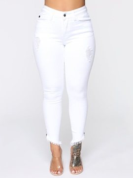 Button Plain Plus Size Zipper Skinny Women's Jeans