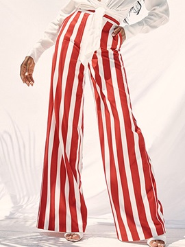 Stripe Loose Wide Legs High Waist Women's Casual Pants