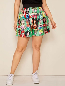 Plus Size Wide Legs Print Cartoon High Waist Elastics Women's Shorts
