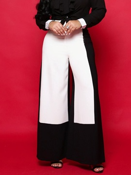 Patchwork Color Block Loose Full Length High Waist Women's Casual Pants