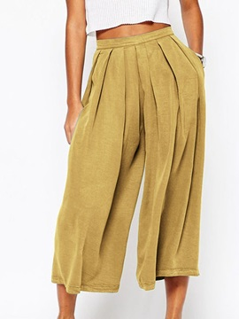 Plain Pleated Loose Mid Waist Mid-Calf Women's Casual Pants