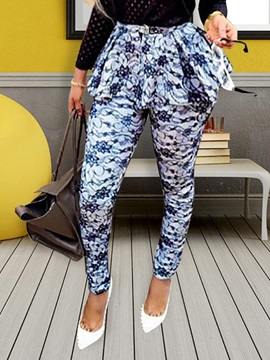 Skinny Print Full Length Women's Casual Pants