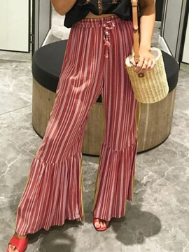 Loose Print Stripe Wide Legs Full Length Women's Casual Pants