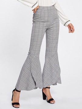 Loose Plaid Print Bellbottoms Full Length Women's Casual Pants