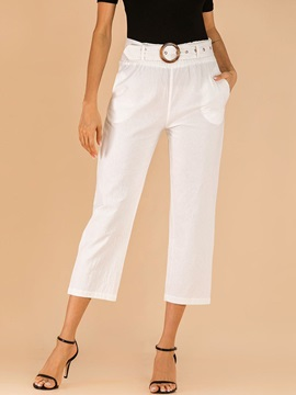 Pocket Slim Plain Straight Mid-Calf Women's Casual Pants
