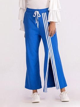 Loose Stripe Split Wide Legs Ankle Length Women's Casual Pants