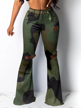 Camouflage Hole Slim Full Length Mid Waist Women's Casual Pants
