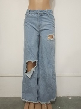 Hole Loose Plain Full Length Wide Legs Women's Casual Pants