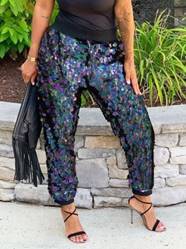 Color Block Loose Sequins Full Length High Waist Women's Casual Pants