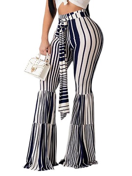Stripe Fashion Lace-Up Slim Wide Legs High Waist Full Length Women's Casual Pants