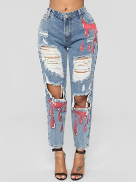 Hole Slim Mid Waist Women's Jeans