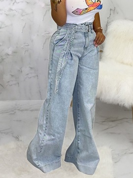 Plain Wide Legs Loose High Waist Women's Jeans