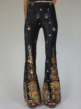Print Slim Full Length Bellbottoms Style Women's Casual Pants