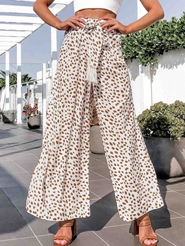 Lace-Up Leopard Loose Full Length High Waist Women's Casual Pants