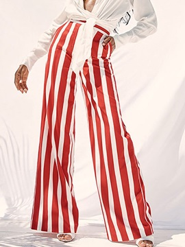 Loose Stripe Full Length Wide Legs Women's Casual Pants