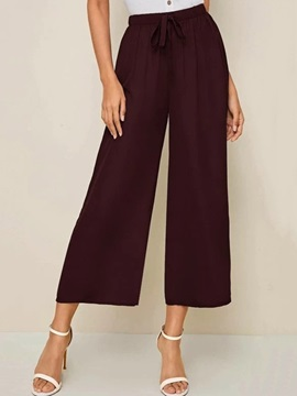 Loose Plain Lace-Up Wide Legs Mid Waist Women's Casual Pants