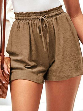 Pocket Plain Loose Lace-Up Women's Shorts