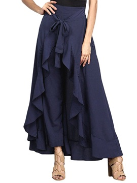 Loose Lace-Up Plain Full Length Culottes Women's Casual Pants