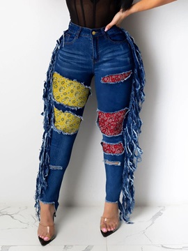 Pencil Pants Color Block Tassel Zipper Slim Women's Jeans