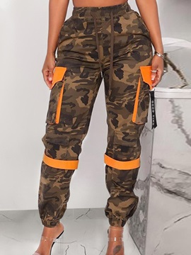 Slim Patchwork Camouflage Overall Ankle Length Women's Casual Pants