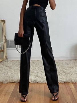 Pocket Plain Loose Full Length Straight Women's Casual Pants
