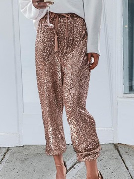 Plain Loose Sequins Ankle Length Pencil Pants Women's Casual Pants
