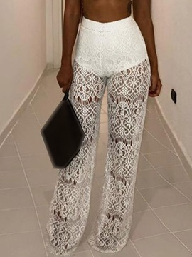 Plain See-Through Loose Straight Full Length Women's Casual Pants