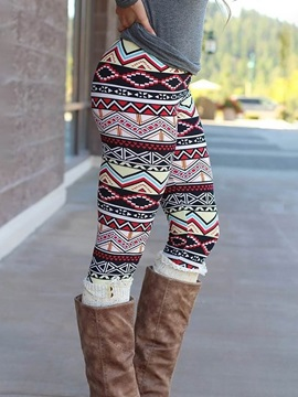 Christmas Geometric Print Skinny High Waist Full Length Women's Casual Pants