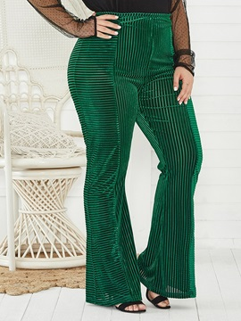 Plus Size Stripe Slim Full Length High Waist Women's Casual Pants