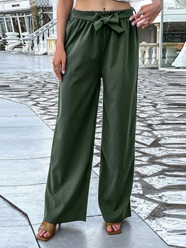 Plain Loose Lace-Up Mid Waist Wide Legs Women's Casual Palazzo Pants