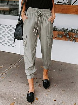 Plain Pocket Loose High Waist Ankle Length Women's Casual Pants