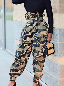 Camouflage Print Loose Full Length High Waist Women's Casual Pants