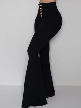 Button Slim Plain Bellbottoms Full Length Women's Casual Pants