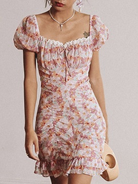 Short Sleeve Stringy Selvedge Square Neck High Waist Fashion Women's Floral Dress Dress