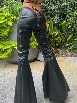 Slim Lace-Up Plain Full Length Bellbottoms Women's Casual Pants