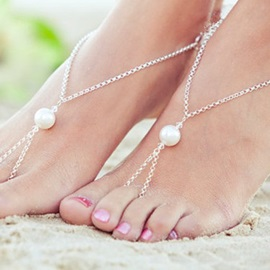 Silver Pearl Decorated Alloy Anklets ( Price for a Pair )