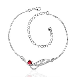 Delicate Crystal Decorated Women's Anklet