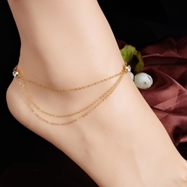 Beautiful Multi-layer Rhinestone Decorated Alloy Anklet