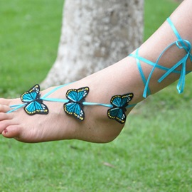 Butterfly Pattern Cotton Women Anklets ( Price for a Pair )