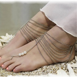 Multi-layer Tassel Pearls Women Anklet