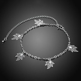Silver Leaves E-Plating Anklet