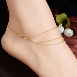 Multilayer Diamante Thin Chain Korean Anklets