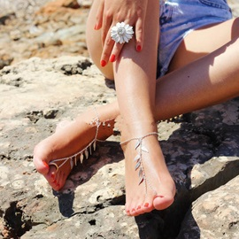 Forest Series Leaf Tassel Toe Ring Chain Anklets